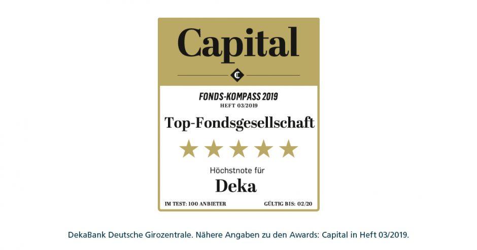 """""""Wo das Geld gut aufgehoben ist"""" – Capital-Fonds-Kompass: Deka erneut mit Bestnote ausgezeichnet"""